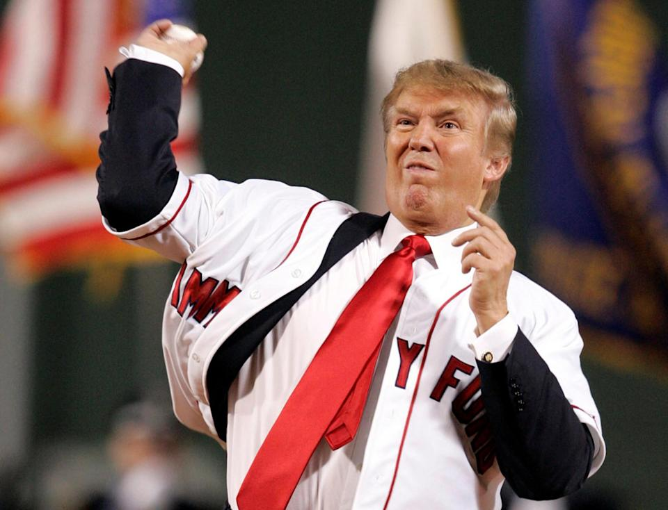 Donald Trump throwing out the first pitch at an MLB game in 2006. (Reuters)