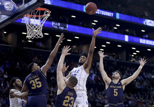 Duke forward Marvin Bagley III (35) shoots against Notre Dame during the second half of an NCAA college basketball game in the Atlantic Coast Conference men's tournament Thursday, March 8, 2018, in New York. (AP Photo/Julie Jacobson)