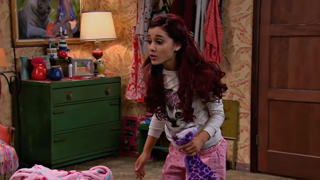 "Cat Valentine (Ariana Grande) in the ""Sam & Cat"" episode, ""BabysitterWar."""