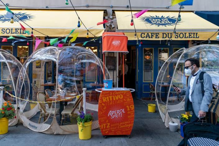 Bubble tents are set up outside Cafe Du Soliel following the outbreak of the coronavirus disease (COVID-19) in the Manhattan borough of New York City
