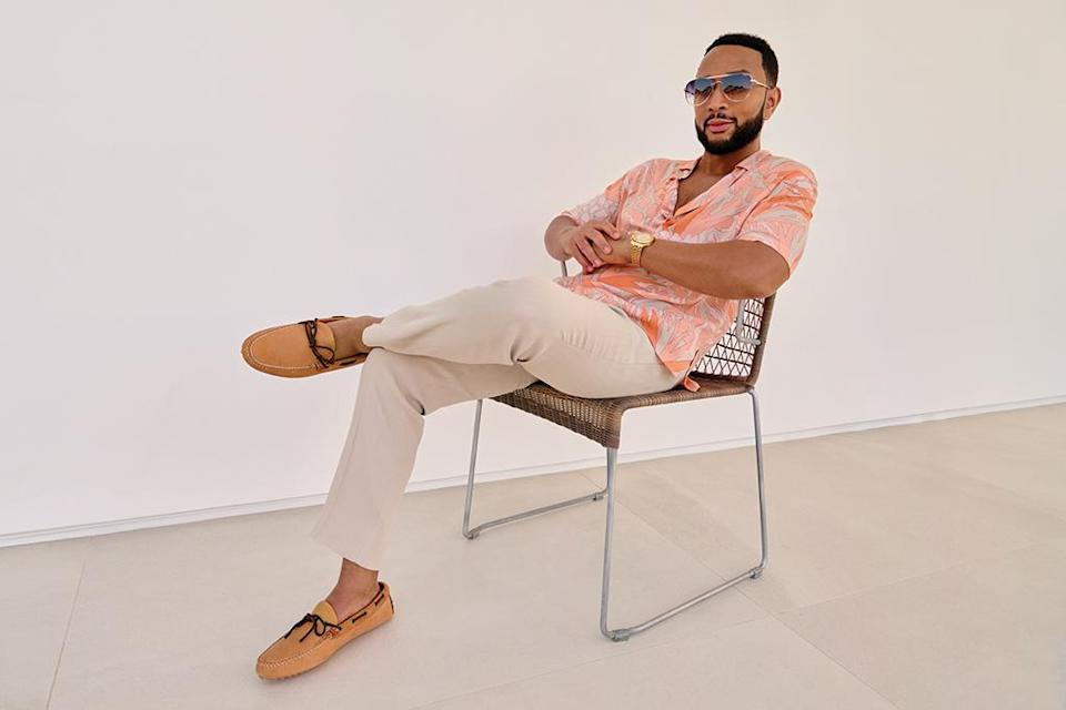 John Legend poses in Sperry styles exclusively for his Footwear News cover shoot, June 2021. - Credit: Yu Tsai
