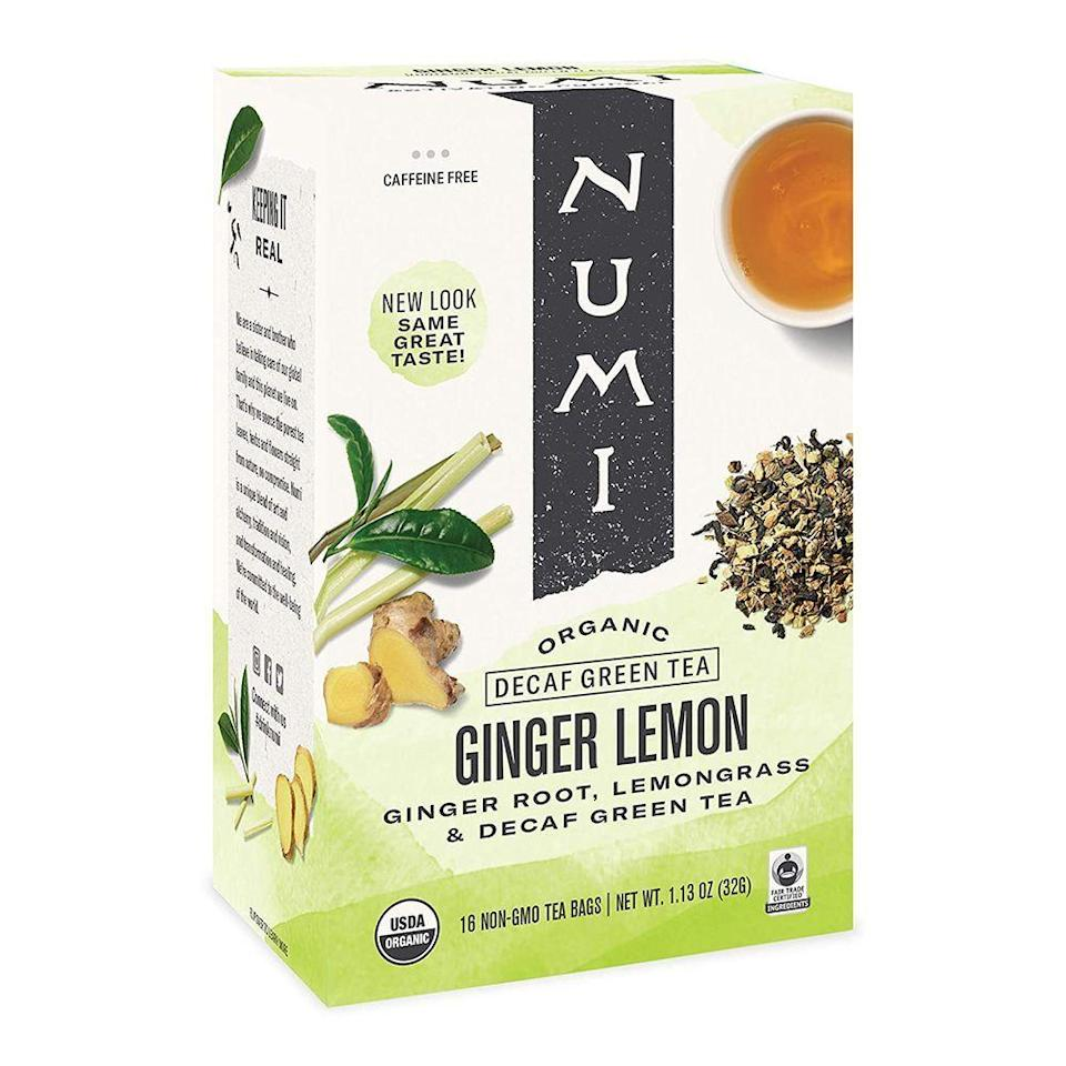 """<p><strong>Numi</strong></p><p>vitacost.com</p><p><strong>$6.73</strong></p><p><a href=""""https://go.redirectingat.com?id=74968X1596630&url=https%3A%2F%2Fwww.vitacost.com%2Fnumi-organic-tea-decaf-ginger-lemon-16-tea-bags&sref=https%3A%2F%2Fwww.bestproducts.com%2Feats%2Fdrinks%2Fg2205%2Fbest-green-tea-for-health-benefits%2F"""" rel=""""nofollow noopener"""" target=""""_blank"""" data-ylk=""""slk:Shop Now"""" class=""""link rapid-noclick-resp"""">Shop Now</a></p><p>Made with a fragrant blend of ginger, lemongrass, decaffeinated green tea, lemon verbena, and lemon myrtle, Numi's Ginger Lemon is bright and citrusy. A healthy green tea to sip morning, noon, or night, we recommend chilling this tea and enjoying it during the warmer months.</p>"""