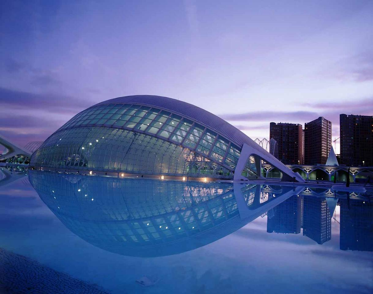 The Arts and Science City in Valencia was designed by Santiago Calatrava and Felix Candela and is a cultural complex housing various buildings. It contains an auditorium, aquarium and even an Imax cinema. In 2005 construction was finally completed after nine years building the different sections. The complex now receives more than four million visitors per year, most of whom visit the impressive aquarium, which is the largest in Europe.