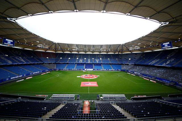 Soccer Football - Bundesliga - Hamburger SV v Borussia Moenchengladbach - Volksparkstadion, Hamburg, Germany - May 12, 2018 General view of the stadium after the match REUTERS/Morris Mac Matzen DFL RULES TO LIMIT THE ONLINE USAGE DURING MATCH TIME TO 15 PICTURES PER GAME. IMAGE SEQUENCES TO SIMULATE VIDEO IS NOT ALLOWED AT ANY TIME. FOR FURTHER QUERIES PLEASE CONTACT DFL DIRECTLY AT + 49 69 650050