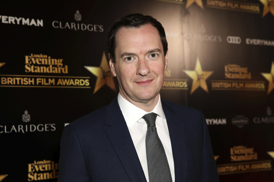 Newspaper Editor George Osborne poses for photographers on arrival at The Evening Standard Film Awards in central London on Thursday, Feb. 8, 2018. (Photo by Grant Pollard/Invision/AP)