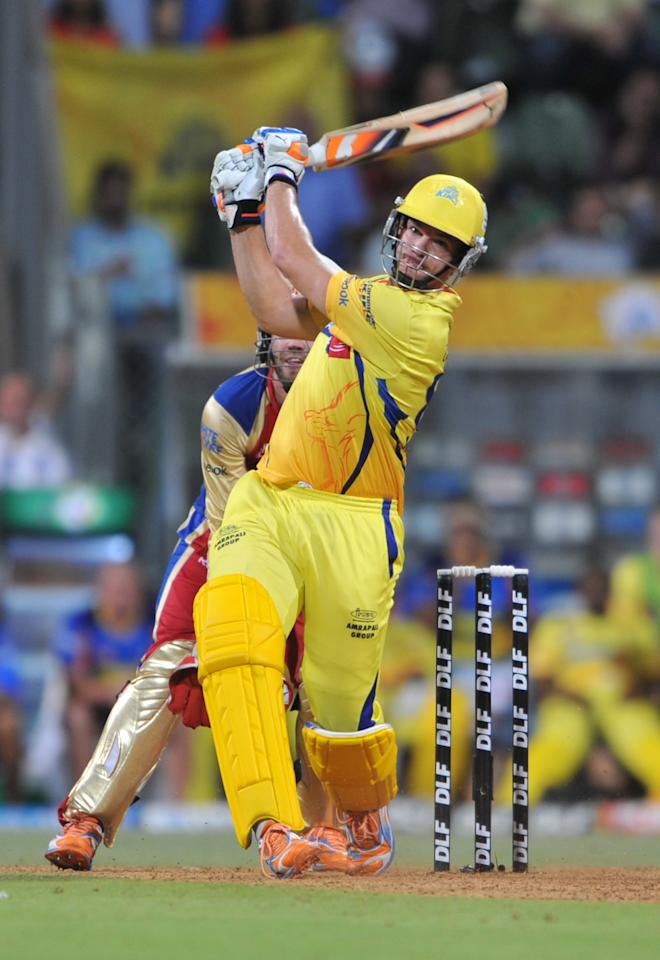 RESTRICTED TO EDITORIAL USE. MOBILE USE WITHIN NEWS PACKAGE  Chennai Super Kings batsman Albie Morkel plays a shot during the IPL Twenty20 qualifier1 match between Chennai Super Kings and Royal Challengers Bangalore at the Wankhede Stadium in Mumbai on May 24, 2011. AFP PHOTO / Sajjad HUSSAIN. (Photo credit should read SAJJAD HUSSAIN/AFP/Getty Images)