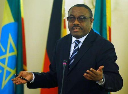 Ethiopian Prime Minister Hailemariam Desalegn gestures during a news conference in Addis Ababa, Ethiopia