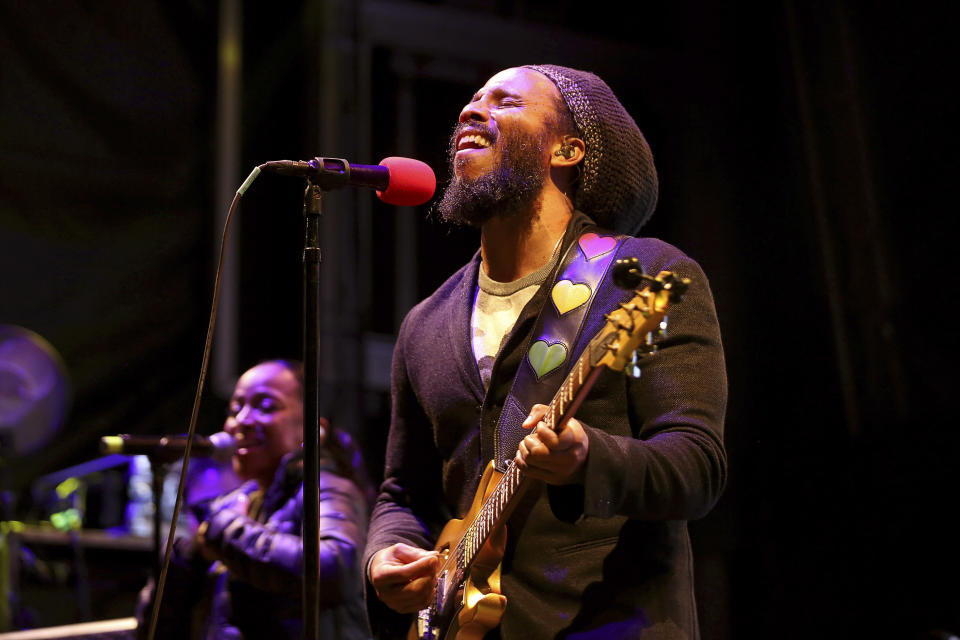 """FILE - Ziggy Marley performs at """"The World's Biggest Sleep Out"""" in Pasadena, Calif., on Dec. 7, 2019. The son of reggae icon Bob Marley and Rita Marley will perform at Nat Geo's Earth Day Eve 2021 streaming concert on Wednesday. (Photo by Willy Sanjuan/Invision/AP, File)"""