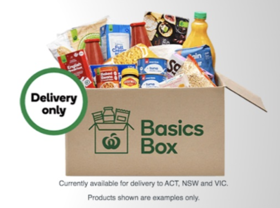 The basics box will not be customisable and delivered only to those who need it most. Source: Supplied