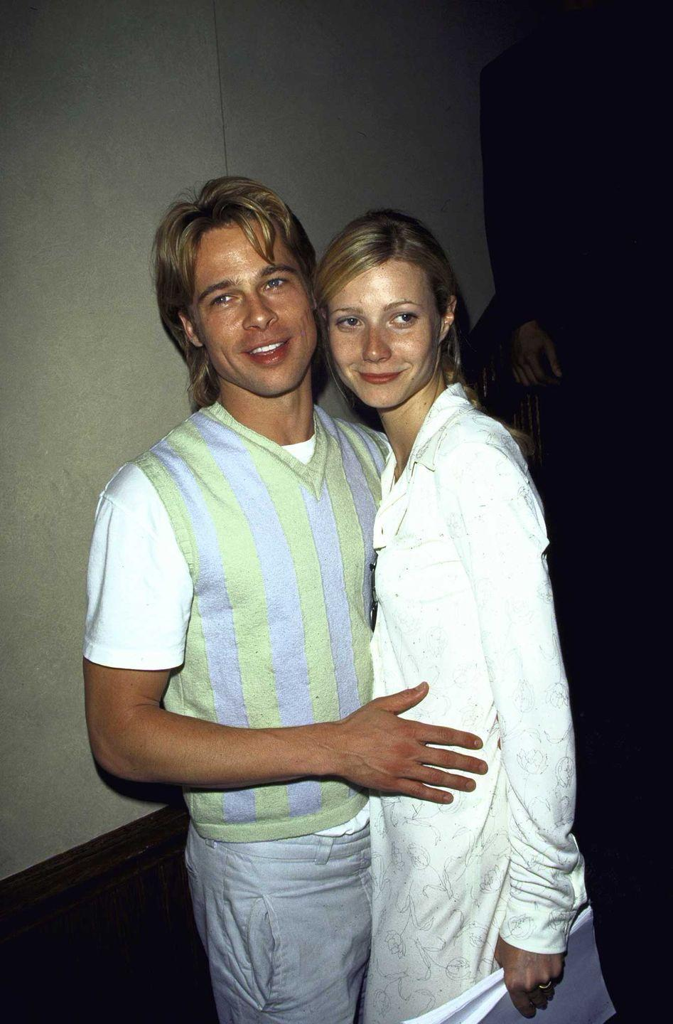 <p>Brad Pitt and Gwyneth Paltrow seen at the premiere of <em>The Pallbearer</em>. The couple, seen here in 1996, was engaged but never made it to the altar. </p>