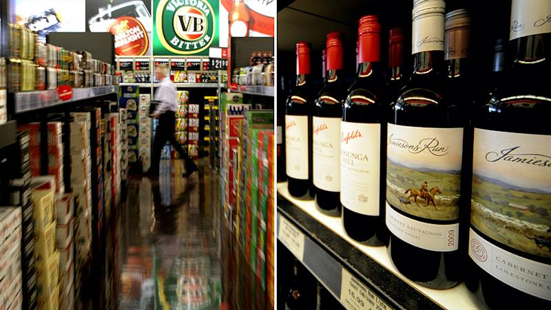 Stock pictures taken from Australian bottle shops, show shelves full of alcohol