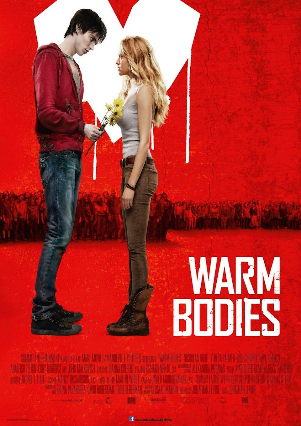"""<p>Sometimes you can't resist a good rom-com ... especially if the love story is between a zombie and a human. Based on <a href=""""https://www.amazon.com/Warm-Bodies-Novel/dp/1439192324?tag=syn-yahoo-20&ascsubtag=%5Bartid%7C10055.g.33546030%5Bsrc%7Cyahoo-us"""" rel=""""nofollow noopener"""" target=""""_blank"""" data-ylk=""""slk:a novel of the same name"""" class=""""link rapid-noclick-resp"""">a novel of the same name</a> (which in turn was inspired by Shakespeare's <em>Romeo and Juliet</em>), this offbeat flick focuses on the unique relationship between a young woman (Teresa Palmer) and a zombie named """"R"""" (Nicholas Hoult).<br><br><a class=""""link rapid-noclick-resp"""" href=""""https://www.amazon.com/Warm-Bodies-Nicholas-Hoult/dp/B00CL50KDY?tag=syn-yahoo-20&ascsubtag=%5Bartid%7C10055.g.33546030%5Bsrc%7Cyahoo-us"""" rel=""""nofollow noopener"""" target=""""_blank"""" data-ylk=""""slk:WATCH ON AMAZON"""">WATCH ON AMAZON</a> </p>"""