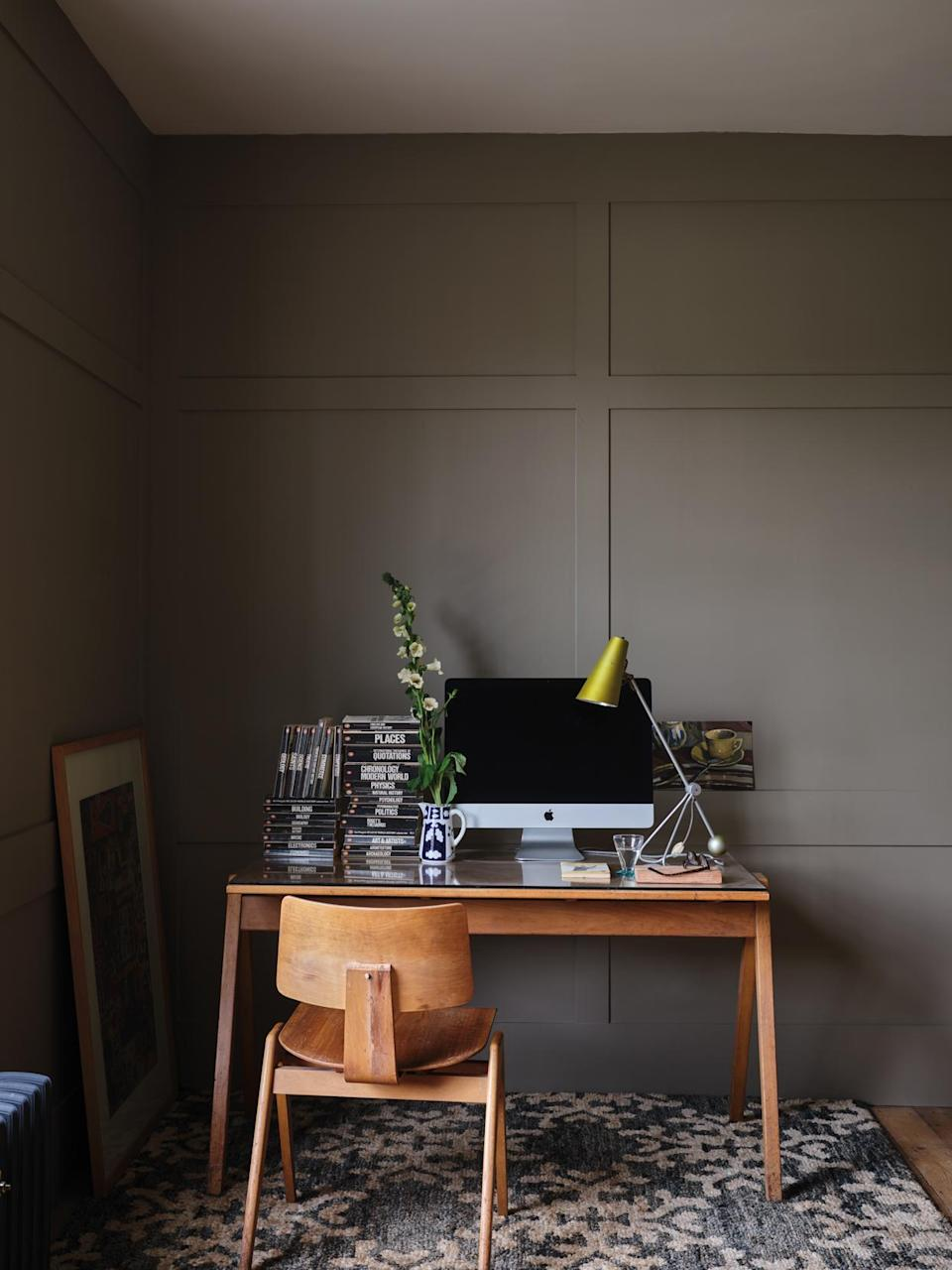 """<p>If you thought brown walls were boring, then it's time to think again. According to our experts, a warm brown-painted office can help you stay calm and focused while you work. """"Mid-brown tones, like <a href=""""https://www.farrow-ball.com/en-us/colour-by-nature/broccoli-brown"""" rel=""""nofollow noopener"""" target=""""_blank"""" data-ylk=""""slk:Broccoli Brown"""" class=""""link rapid-noclick-resp"""">Broccoli Brown</a>, are calming,"""" O'Donnell explains, """"and can focus the mind on the important tasks at hand.""""</p>"""