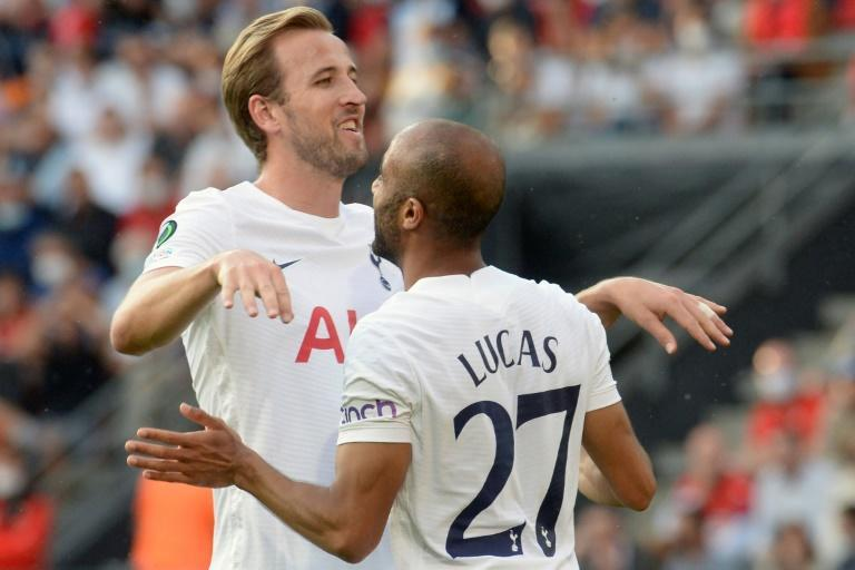 Harry Kane with Lucas Moura after Spurs took the lead in Rennes (AFP/JEAN-FRANCOIS MONIER)
