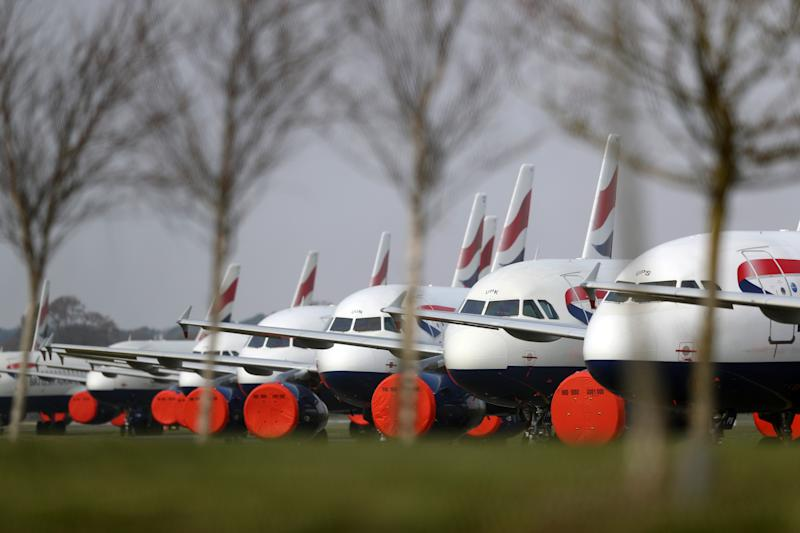 BOURNEMOUTH, ENGLAND - MARCH 28: General views of British Airways planes grounded at Bournemouth Airport on March 28, 2020 in Bournemouth, England. The Coronavirus (COVID-19) pandemic has spread to many countries across the world, claiming over 25,000 lives and infecting hundreds of thousands more. (Photo by Naomi Baker/Getty Images)
