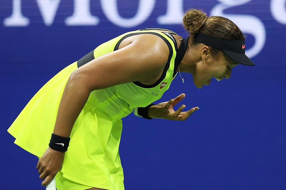 Naomi Osaka (pictured) reacts to a lost point during a tie break against Leylah Fernandez during her Women's Singles third round match on Day Five at USTA Billie Jean King National Tennis Center on September 03, 2021 in New York City.