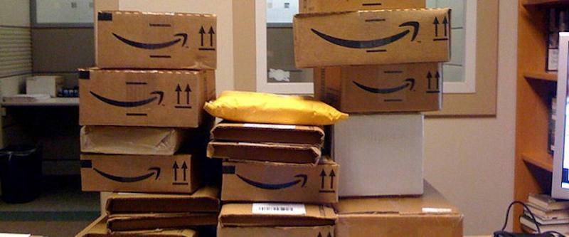 Amazon boxes piled up