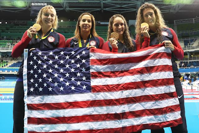 Katie Ledecky (left) powered the women's 800 freestyle relay to the gold medal. (Getty)
