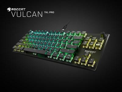 The all new ROCCAT Vulcan Pro TKL also features their all-new Titan Optical Switches which register keystrokes 40 times faster than a classic mechanical switch while doubling the life expectancy to 100 million clicks in a compact design that gamers want,