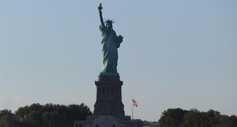 Photo shows the Statue of Liberty in New York, in the United States.