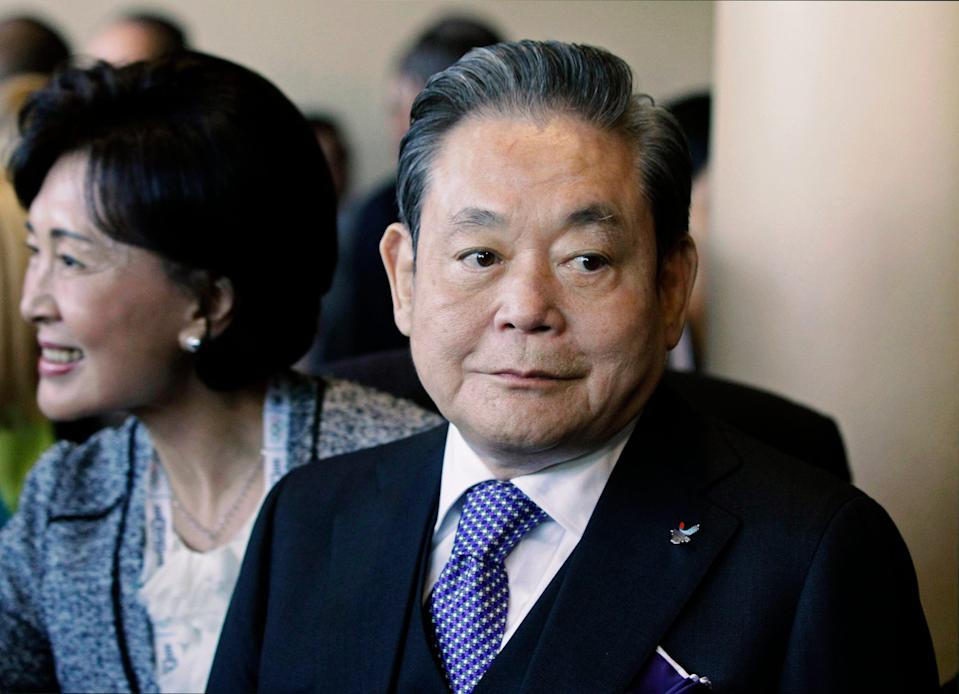Samsung Chairman Lee Kun-hee is pictured greeting people from the South Korean delegation in Durban, South Africa. Lee, the ailing Samsung Electronics chairman who transformed the small television maker into a global giant of consumer electronics, has died. He was 78.