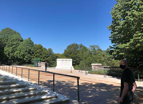 PHOTO: A sentinel stands watch at the Tomb of the Unknown Soldier at Arlington National Cemetery, April 22, 2020, during the coronavirus pandemic. (Devin Dwyer/ABC News)