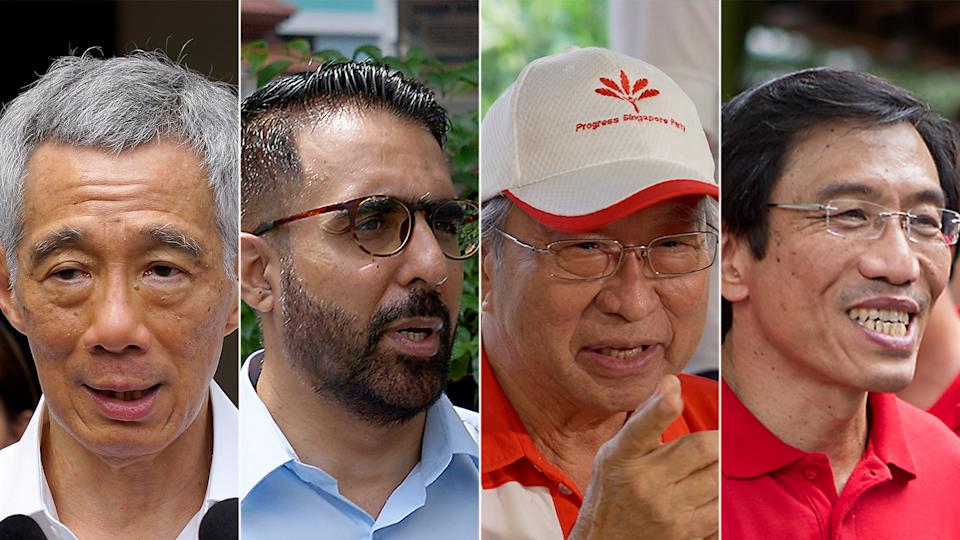 GE2020 candidates and party leaders (from left) Lee Hsien Loong of the People's Action Party, Pritam Singh of the Workers' Party, Dr Tan Cheng Bock of the Progress Singapore Party and Dr Chee Soon Juan of the Singapore Democratic Party. (PHOTOS: Yahoo News Singapore)