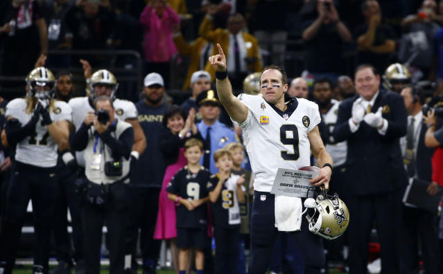 Drew Brees had a historic night, and the Saints blew out Washington. (AP)