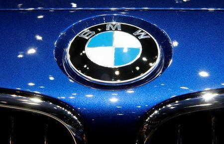 The logo of BMW is seen during the 87th International Motor Show at Palexpo in Geneva