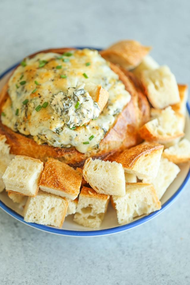 """<p><strong>Get the recipe</strong>: <a rel=""""nofollow"""" href=""""https://www.popsugar.com/food/Chunky-Artichoke-Spinach-Jalapeño-Dip-From-Damn-Delicious-42623301"""">spinach, artichoke, and jalapeño dip</a> </p>"""
