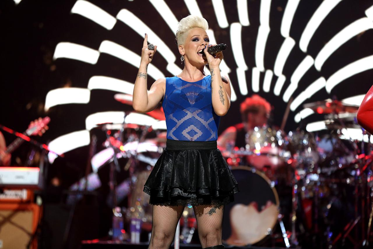 Singer Pink performs during the 2012 iHeartRadio Music Festival at the MGM Grand Garden Arena on September 22, 2012 in Las Vegas, Nevada.  (Photo by Christopher Polk/Getty Images for Clear Channel)