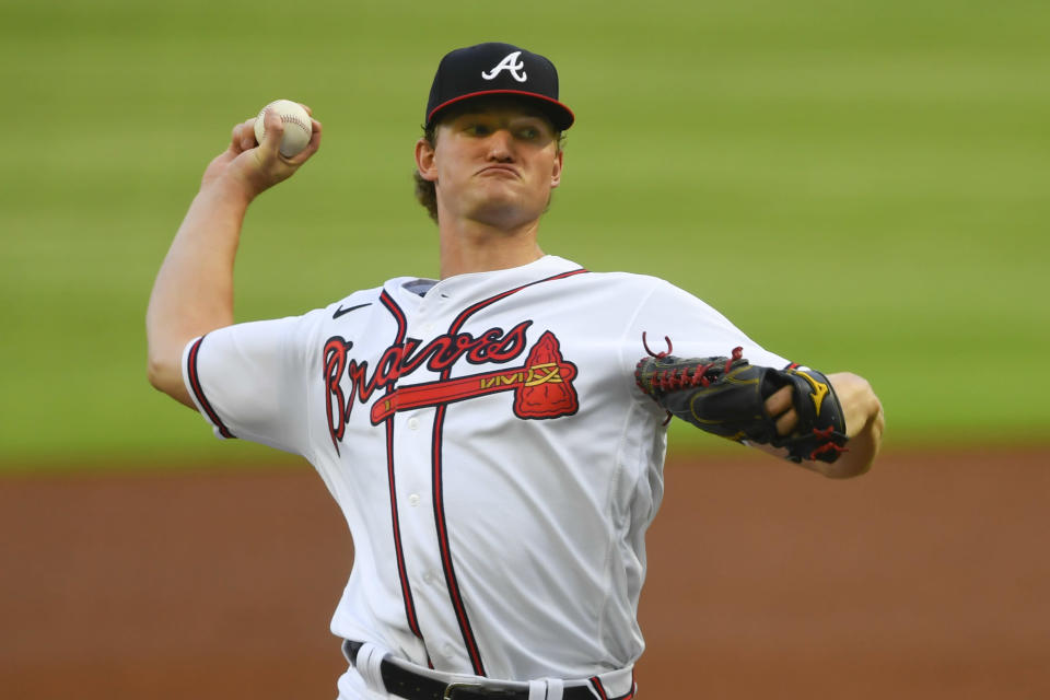 Atlanta Braves' Mike Soroka throws a pitch during the second inning of the baseball team's home-opener, against the Tampa Bay Rays on Wednesday, July 29, 2020 in Atlanta. (AP Photo/John Amis)