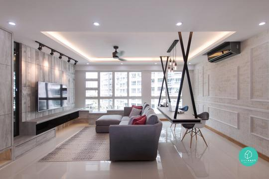 12 must see ideas on 4 room 5 room hdb renovation for Simple living room design singapore