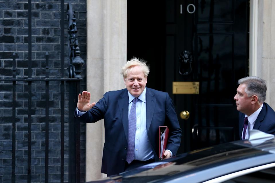 LONDON, ENGLAND - FEBRUARY 05: Prime Minister Boris Johnson leaves Downing Street for Prime Minister's Questions on February 05, 2020 in London, England. (Hollie Adams/Getty Images)