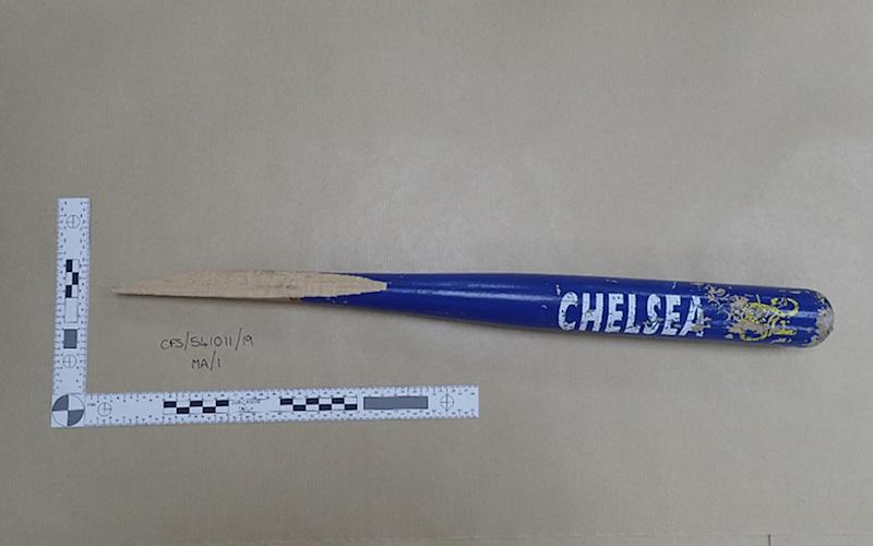 Part of a Chelsea FC baseball bat used by Vincent Fuller in the attack (Picture: PA)