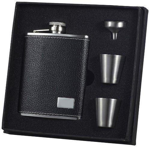 "Visol""Eclipse S"" Leather Deluxe Flask Gift Set, 6-Ounce, Black"