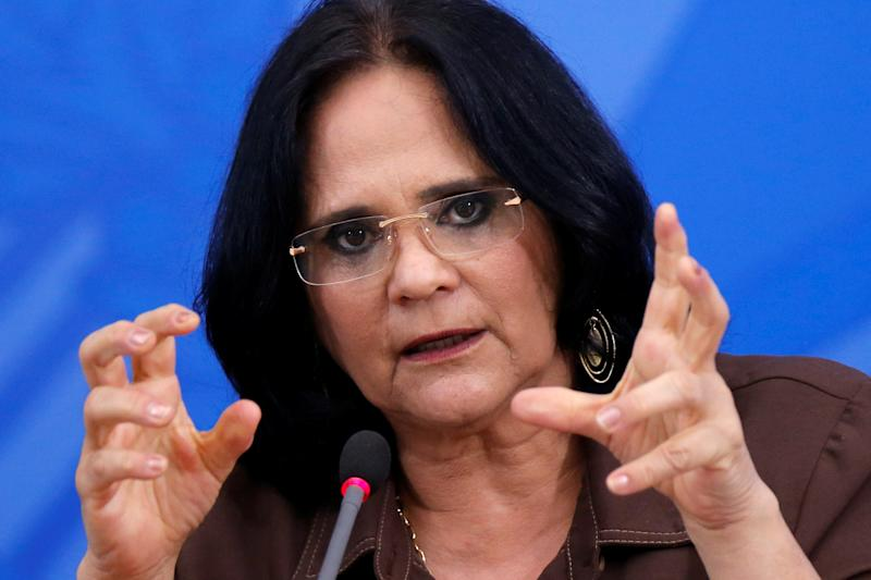 Brazil's Minister of Women, Family and Human Rights, Damares Alves attends a news conference, amid the coronavirus disease (COVID-19) outbreak in Brasilia, Brazil April 13, 2020. REUTERS/Adriano Machado
