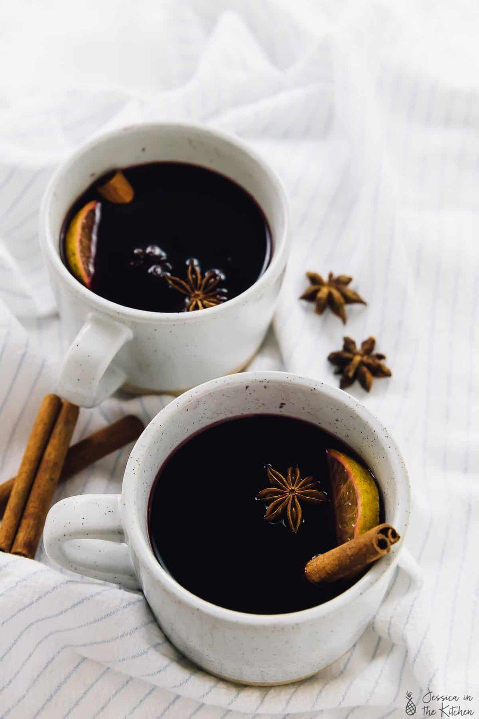 """<p>For a simple cocktail that will make your whole house smell like fall, simmer red wine with warm spices and a hint of citrus. </p><p><a class=""""link rapid-noclick-resp"""" href=""""https://jessicainthekitchen.com/spiced-mulled-wine/"""" rel=""""nofollow noopener"""" target=""""_blank"""" data-ylk=""""slk:GET THE RECIPE"""">GET THE RECIPE</a></p>"""