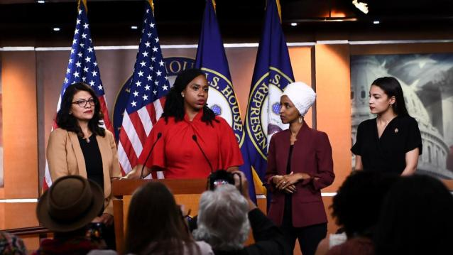 "Brendan Smialowski/GettyThe four progressive Democratic lawmakers who President Donald Trump has targeted with repeated racist taunts in recent days hit back at him during a fiery press conference on Monday.Reps. Ilhan Omar (D-MN), Alexandria Ocasio-Cortez (D-N.Y.), Ayanna Pressley (D-MA), and Rashida Tlaib (D-MI)—who call themselves ""the Squad""—appeared together on Capitol Hill to jointly denounce Trump for repeatedly saying that they should go back to the countries they came from, as well as other smears, like suggestions they are anti-American, anti-Semitic, and supportive of terrorist groups like Al Qaeda. The four freshmen lawmakers mixed forceful responses to Trump's language with broader critiques of his presidency. Tlaib, for example, framed Trump's remarks as a continuation of his ""racist, xenophobic playbook"" and urged support for impeachment of the president.Trump Goes on Unhinged Rant Defending Racist Tweets: 'If You Don't Like It Here, You Can Leave'Omar attacked the administration's immigration policy, economic agenda and brought up in visceral detail Trump's long record of inflammatory comments. ""We have to take action when a president is openly violating the oath he took to the Constitution of the United States and the core values we aspire to,"" said Omar.And on Trump calling for the women of color—all U.S. citizens, and all but Omar born in the U.S.—to leave, Omar said, ""Every single person who's brown or black in this country has heard that.""The lawmakers' joint appearance came hours after Trump continued to attack them—particularly Omar, who the president claimed ""hates Jews""—in a White House press gaggle Monday morning. And just minutes before their press conference, he re-upped his attacks: ""IF YOU ARE NOT HAPPY HERE,"" he tweeted, ""YOU CAN LEAVE!"" The president's tirades served to unify Democrats around the four progressive freshmen after a week that sharply divided them and Democratic leaders on Capitol Hill. In her remarks, Pressley alluded to some of the divisions within the Democratic caucus, including Speaker Nancy Pelosi's dismissal of the so-called ""Squad"" as a lonely group of four.""Our squad is big,"" said Pressley. ""We cannot—we will not—be silenced.""Read more at The Daily Beast.Got a tip? Send it to The Daily Beast hereGet our top stories in your inbox every day. Sign up now!Daily Beast Membership: Beast Inside goes deeper on the stories that matter to you. Learn more."
