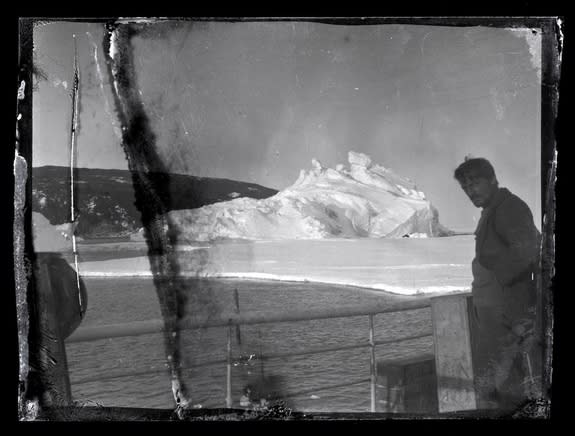 Alexander Stevens, chief scientist and geologist in Ernest Shackleton's 1914-1917 Ross Sea Party, seen aboard the Aurora in a century-old photograph developed for the first time.