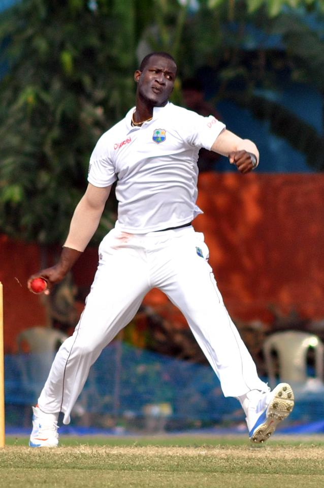 West Indies player captain D Sammy in action during Day 2 of practice match between West Indies and Uttar Pradesh Cricket Association XI at the Jadavpur University Ground in Kolkata on Nov.1, 2013. (Photo: IANS)