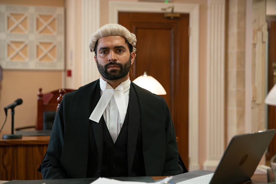 FROM ITV  STRICT EMBARGO - No Use Before Tuesday 17th August 2021  Coronation Street 1041415  Friday 27th August 2021  Imran Habeeb [CHARLIE DE MELO] and Sabeen [ZORA BISHOP] lock horns at the pre trial review as Imran reveals he has new evidence about the blood splatters on Kelly's trainers.    Picture contact David.crook@itv.com   Photographer - Danielle Baguley  This photograph is (C) ITV Plc and can only be reproduced for editorial purposes directly in connection with the programme or event mentioned above, or ITV plc. Once made available by ITV plc Picture Desk, this photograph can be reproduced once only up until the transmission [TX] date and no reproduction fee will be charged. Any subsequent usage may incur a fee. This photograph must not be manipulated [excluding basic cropping] in a manner which alters the visual appearance of the person photographed deemed detrimental or inappropriate by ITV plc Picture Desk. This photograph must not be syndicated to any other company, publication or website, or permanently archived, without the express written permission of ITV Picture Desk. Full Terms and conditions are available on  www.itv.com/presscentre/itvpictures/terms