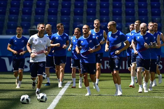 Iceland's players take part in a training session in Volgograd on June 21, on the eve of their Russia 2018 World Cup Group D match against Nigeria (AFP Photo/NICOLAS ASFOURI)