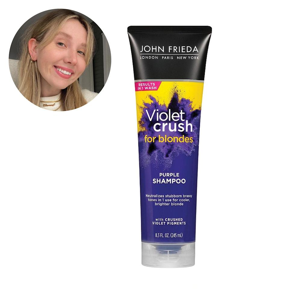 "After just one wash with this stuff, my hair is noticeably brighter and less brassy—as if I just came from the salon. I love that it's affordable and attainable. A true drugstore staple! —<em>S.B.</em> $12, John Frieda. <a href=""https://shop-links.co/1735086263769905278"" rel=""nofollow noopener"" target=""_blank"" data-ylk=""slk:Get it now!"" class=""link rapid-noclick-resp"">Get it now!</a>"