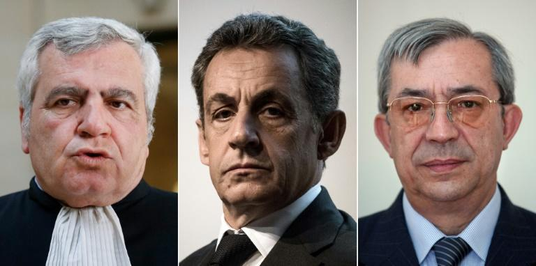 Thierry Herzog (L), Nicolas Sarkozy (C) and Gilbert Azibert (R) could each face four years in jail if convicted