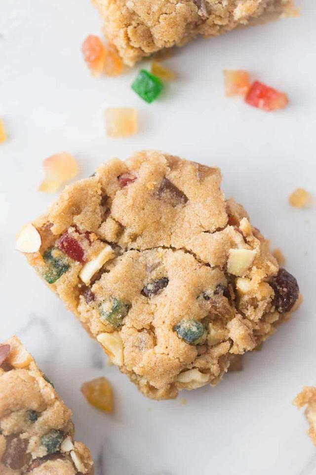 "<p>Try an alternative to your typical cake or bread version of the Christmas classic with these cookie bars.</p><p><strong>Get the recipe at <a href=""https://www.southernplate.com/fruitcake-bar-cookies/"" target=""_blank"">Southern Plate</a>.</strong></p><p><a class=""body-btn-link"" href=""https://www.amazon.com/Wilton-Perfect-Results-Premium-Non-Stick/dp/B07328J6QJ/?tag=syn-yahoo-20&ascsubtag=%5Bartid%7C10050.g.3610%5Bsrc%7Cyahoo-us"" target=""_blank"">SHOP NONSTICK BAKING PANS</a></p>"