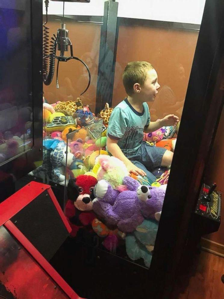 Mason got himself stuck in a claw machine in Titusville, Florida. (Titusville Fire Department)