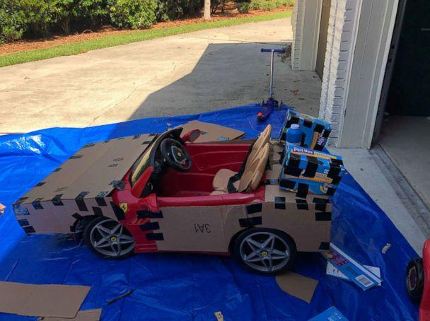 PHOTO: Dad Robbie Willis bought the electric, ride-on Ferrari online as an early birthday present for the boys in 2017, which was transformed into the DeLorean from 'Back to the Future.' (Lauren Willis)