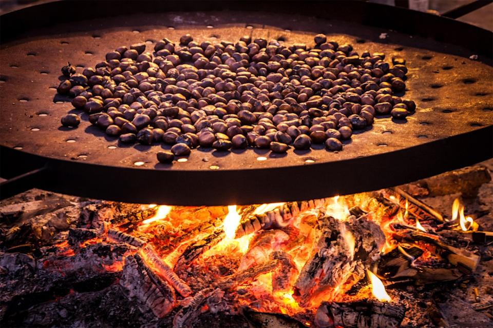 roasted chestnuts on fire