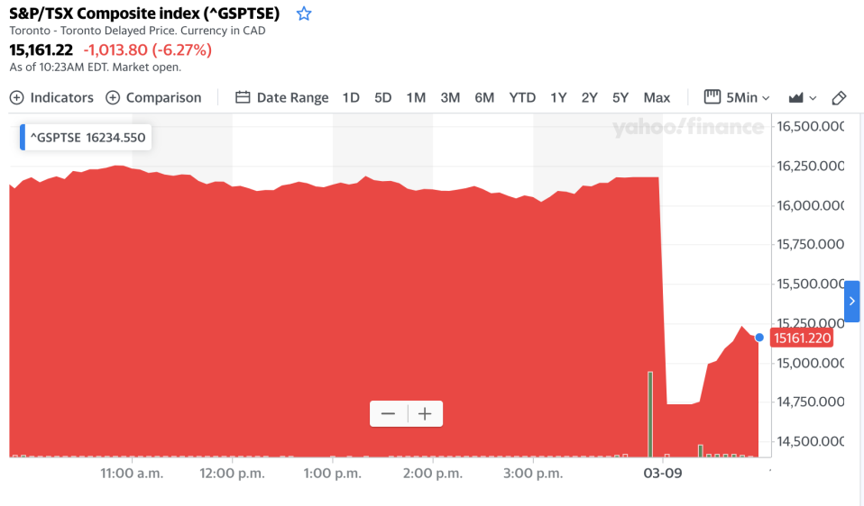 The S&P/TSX Composite index fell as much as 10 per cent on Monday.